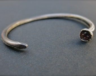 Nail Bracelet - Hand-Forged Sterling Silver Industrial Cuff Bracelet