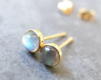18k Labradorite Studs - Labradorite and Solid 18k Gold Studs - Solid 18 Karat Gold and Gemstone Post Earrings