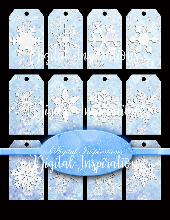 Christmas gift tags blue and white snowflakes snowflake gift tags winter gift tags