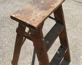 Vintage Rustic Shabby Step Stool Ladder Wood
