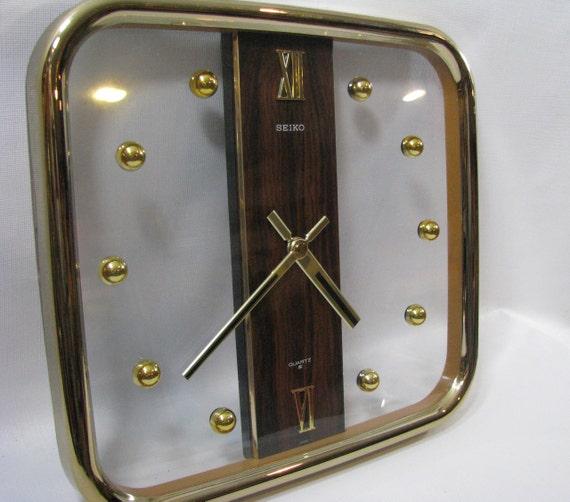 Vintage Seiko Quartz Wall Clock Gold Tone Brass Acrylic
