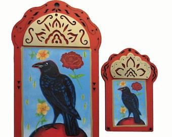 Raven Contemplating the Fragrance of Roses, Raven Art,  Raven Wall Art, Raven Print, Wildlife Art, Black Bird, Rose, Christina Miller Art