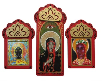 3 Black Madonnas, 20% off, Free Shipping, Our Lady of Chestochowa, Black Madonna, Our Lady of Montserrat,  Catholic Art,  Christina Miller