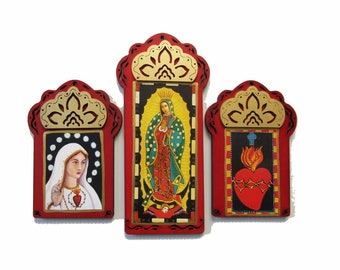 GUADALUPE TRIPTYCH, 20% Off, Free Shipping, Virgin of Guadalupe, Virgin Mary Art, Icon, Catholic Art, Fatima, Sacred Heart, Christina Miller