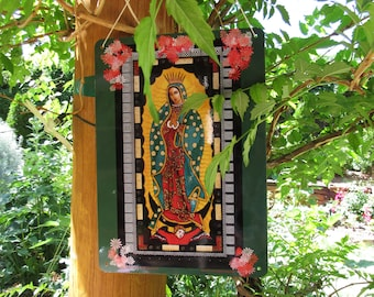 La Virgen de Guadalupe Outdoor Yard Sign, Metal, Image from my Original, Christina Miller