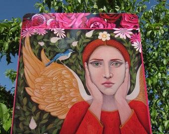 ANGEL in the GARDEN, Garden Art, Protectress of Birds, Angel Apiel, Christina Miller Artist