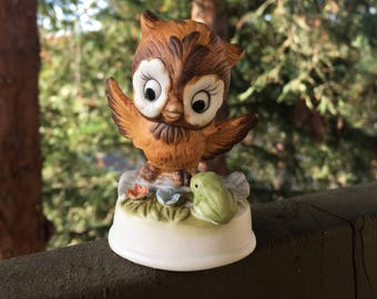 """Owl with Frog and Flowers, Bone China Animal Figurine, Vintage Small Brown Owl, 3"""" Height"""