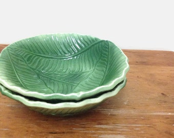 Two California Pottery Bowls - Green Leaf Salad or Soup Bowl  - Ceramic - Made in USA - Collectible