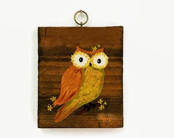 Vintage Owl Painting on Wood, Signed by Artist, Retro Owl Decor, Rustic Art