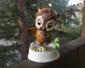 """Owl with Inch Worm, Bone China Bird Figurine, Vintage Small Brown Owl, 3"""" Height"""