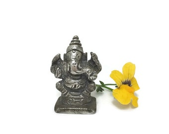 Vintage Small Ganesha Statue, Remover of Obstacles, Lord Ganesh, Pewter Figure