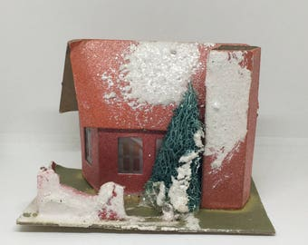 Vintage Putz Style House, Red Flocked House, Mid Century Christmas Decor, Made in USA
