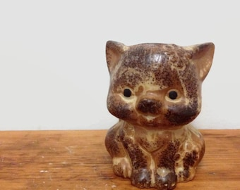 Vintage Cat Candle,  Ceramic, Japan, Cat Liver Gift, Brown Kitty