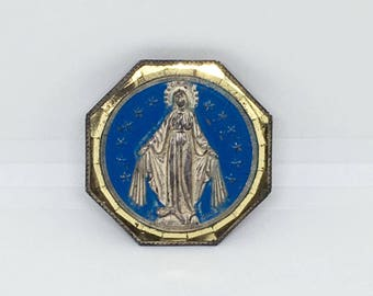 Vintage Virgin Mary Magnet, Magnetized and Self-Adhesive, Blue and Gold