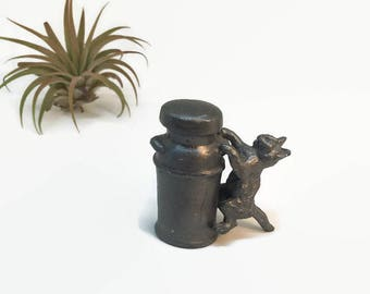 Vintage Pewter Cat on a Milk Bottle Figurine - Miniature Collectible Animal