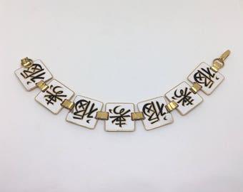 Vintage Japanese Enamel Bracelet for Fortune & Longevity