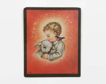 Vintage Child with Lamb and Bird - Print Mounted on Wood - Charlot Byl 1958 - Boy Nursery Decor - Religious Decor