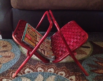 Red Wicker Magazine Rack - Bamboo Record Holder - Folding Rack - Boho Decor