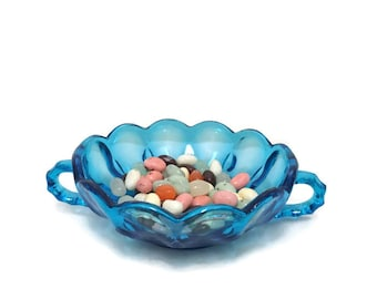 Anchor Hocking Glass Dish, Laser Blue, Fairfield Pattern, Double Handled, Candy Bowl, Wedding Gift
