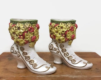 Vintage Victorian Boots Vase, Planter, Bookends - Ceramic - 1973 - White, Gold and Flowers