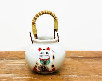 Small Lucky Cat Ceramic Planter, Neko, Air Plant Holder, Nakagama Japan