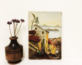 Vintage Small Oil Painting of  Seaside Village, Signed by Artist