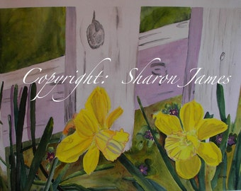 Delightful Daffodils - Original Mixed Media Painting, 20 x 13.5 inches, by Sharon James