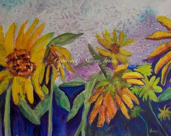 Silly Sunflowers-Original Mixed Media Painting 20 x 14 inches, by Sharon James