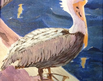 """Pelican Pier, Acrylic Painting by Sharon James, 8"""" x 10"""""""