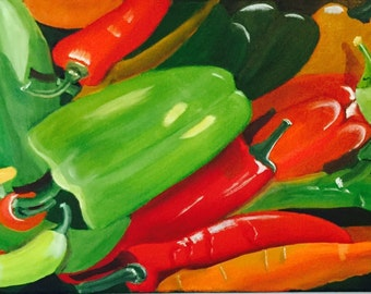 """Hot Stuff, 36""""x12"""", oil painting by artist Sharon James"""