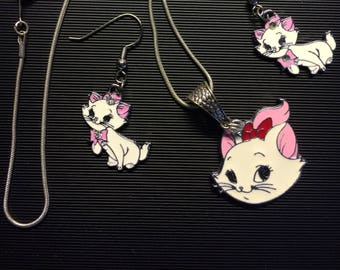"Aristocats theme, 16"" Necklace, Ear Ring set           ARC-3"