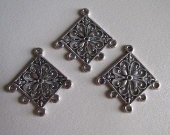 Antique Silver Elegant Charm Holder for 5 charms               C1006