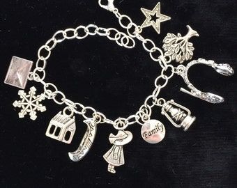 "Book, Theme, Shack, Silver Plated Bracelet, Pewter Charms, 8"" long"