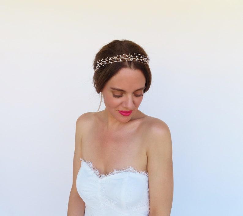 Bridal Pearl Wedding Hair Piece Gold Hair Vine Bride Headband Beaded Headpiece For Wedding White Gold Hair Accessories Goddess Crown Jewelry