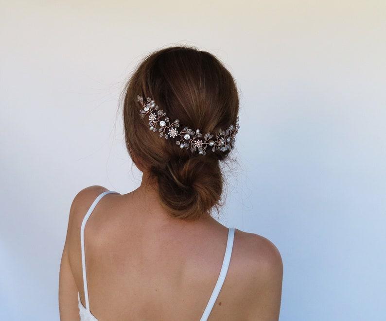 Rose Gold Bridal Hair Vine Pearl Wedding Headpiece Rhinestone Bridal Headband Rose Gold Hair Piece Bridal Hair Vine Wedding Hair Accessories