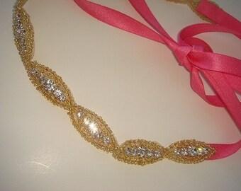 Hair Accessories, Rhinestone Headband, Halo Headband, bridal headband, wedding, bridal accessories, quincenera, gold headband, hot pink,