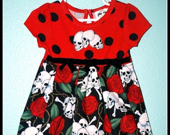 Girls Rockabilly Gothic Dress in Red Polka Dots Skulls and Roses ........Size 2