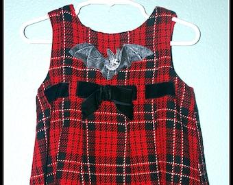Girls Rockabilly Gothic Dress in Red Plaid Bat ........Size 24 months/ 2
