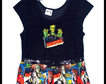 Girls Rockabilly Black Velvet Dress in Frankenstein & Vintage Monsters ........Size 14-16