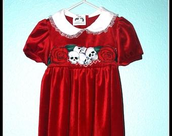 Girls Rockabilly Gothic Red Velvet Jumper Skulls and Roses ........Size 2