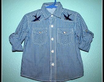 Boys Rockabilly Birds & Lost at Sea Shirt....size 4