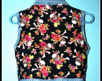 Girls Rockabilly Skulls and Roses Denim Vest....size 24 months/2 years