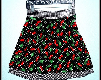 Cherries and Checks Rockabilly Skirt  Black and White Polka Dot...... Size S