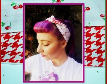 Betty Bandana in Cherry & Houndstooth Print ....Rockabilly Hair Bandana Bow...New Size and Style