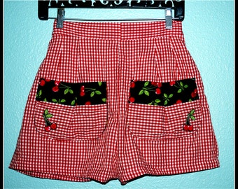 1950s Reproduction Cherries and Checks Rockabilly Shorts..... Size L