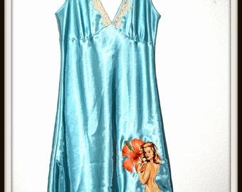Rockabilly Pin up Girl Full Slip Blue Lingerie Nighty ....Size M/L
