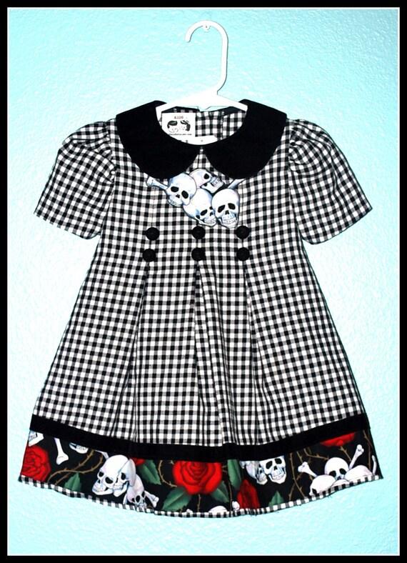 Girls Rockabilly Black Velvet Dress in Skulls and Roses ........Size 16