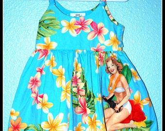 Girls Rockabilly Blue Tiki Dress with Pinup Girl........Size 12 months