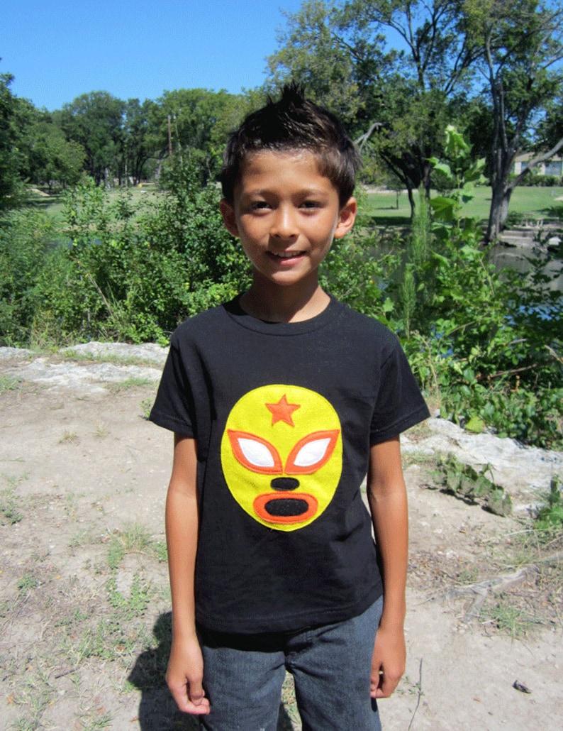 970b30e09f35a Luchador Amarillo - Yellow Mexican Wrestler Kids T-Shirt