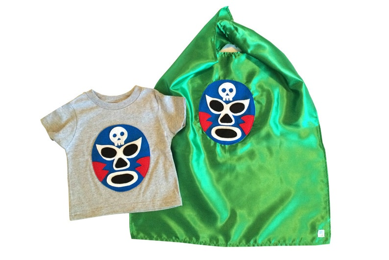 a8f2d40f8de3f Luchador Azul - Blue Mexican Wrestler Kids T-Shirt & Green Cape Combo